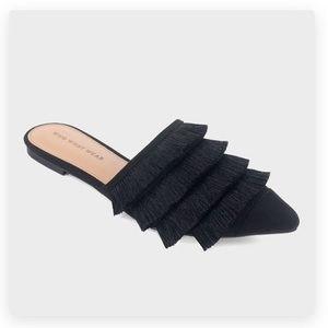 Gorgeous slip on black flats mules fringe tassels